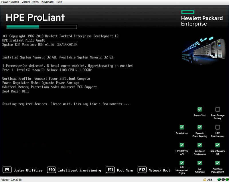 HPE ProLiant ML110 Gen10 Boot