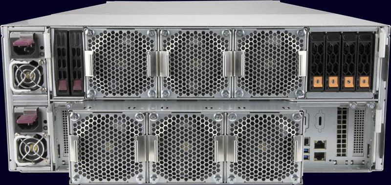 Bộ điều khiển đơn phía sau Supermicro SuperStorage SSG 6049SP DE1CR60 với bộ lưu trữ
