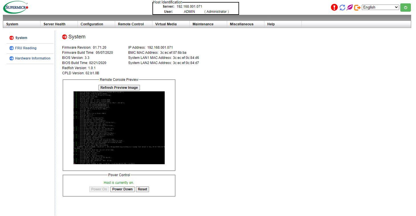 Bảng điều khiển Supermicro IPMI AST2500