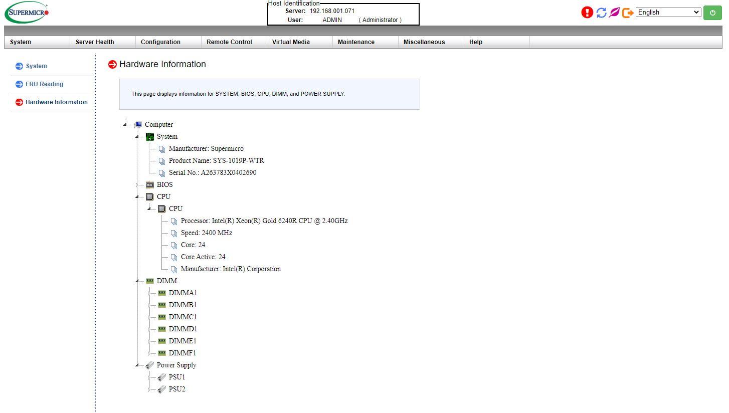 Bảng điều khiển Supermicro IPMI AST2500 Hàng tồn kho