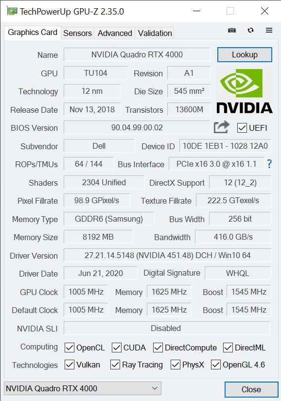 NVIDIA Quadro RTX 4000 GPUz