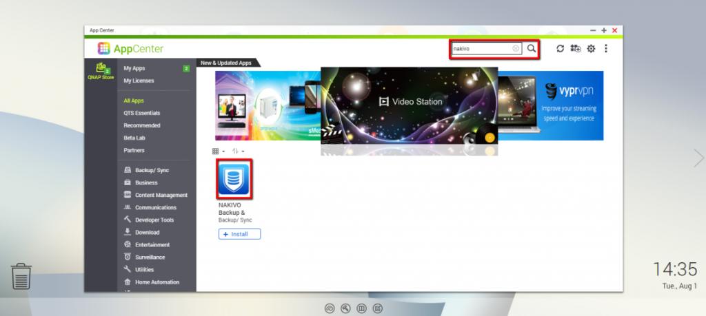 NAKIVO Backup & Replication được cài đặt trên bộ nhớ đính kèm mạng QNAP của bạn